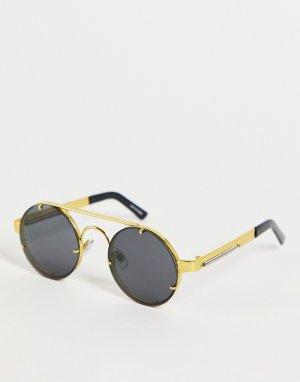 Круглые солнцезащитные очки в стиле унисекс с черными линзами золотистой оправе Lennon2-Золотистый Spitfire