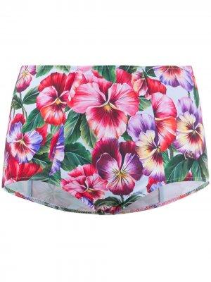 Плавки бикини с цветочным принтом Dolce & Gabbana. Цвет: синий