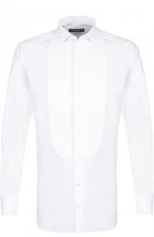 Хлопковая сорочка под смокинг Dolce & Gabbana. Цвет: белый
