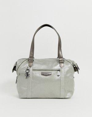 Большая сумка с отделкой металлик -Серебряный Kipling