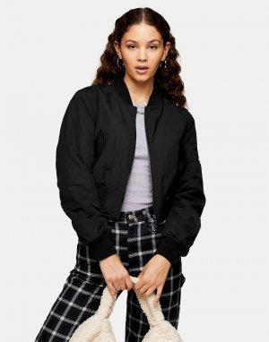 Черная короткая куртка-бомбер -Черный цвет Topshop