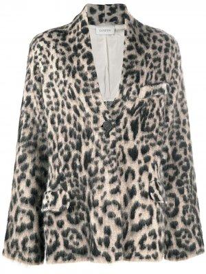 Пиджак на пуговицах с леопардовым принтом Laneus. Цвет: черный