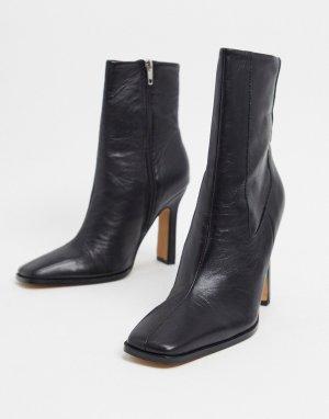 Черные кожаные премиум-полусапожки на каблуке -Черный цвет ASOS DESIGN