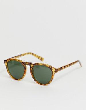 Круглые солнцезащитные очки в светлой черепаховой оправе AJ Morgan. Цвет: коричневый