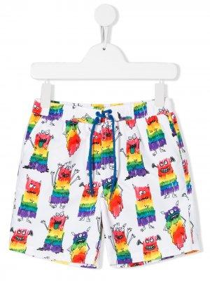 Плавки-шорты с принтом Stella McCartney Kids. Цвет: белый