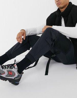 Черные брюки карго в стиле милитари -Черный Bershka