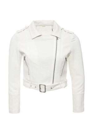Куртка кожаная B.Style BS002EWIAU66. Цвет: белый