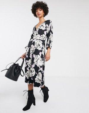 Платье миди с цветочным принтом и запахом -Темно-синий Gestuz
