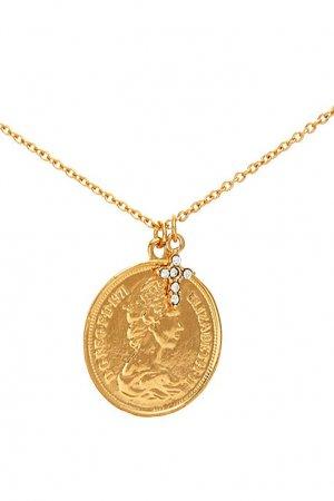 Колье с монетой и крестом Aqua. Цвет: золотой