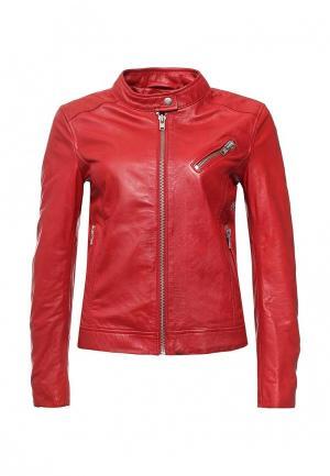 Куртка кожаная Blouson BL033EWQGN29. Цвет: красный