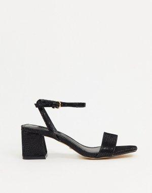 Черные босоножки на блочном каблуке -Черный Topshop