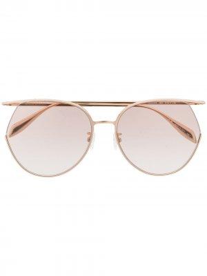 Солнцезащитные очки в массивной круглой оправе Alexander McQueen Eyewear. Цвет: золотистый