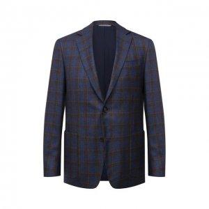 Пиджак из шелка и кашемира Canali. Цвет: синий