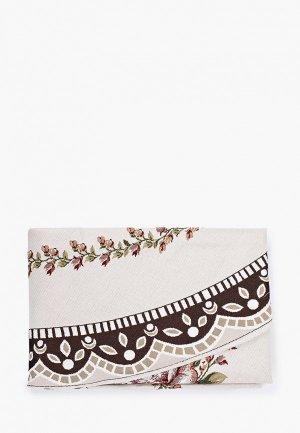 Скатерть DO&CO Пано круглая гобеленовая. Цвет: белый