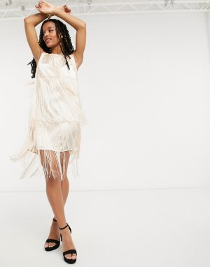 Платье мини кремового цвета с бахромой -Белый Elvi