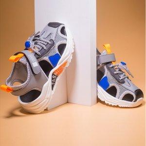Для мальчиков Спортивные сандалии Контрастный на липучке SHEIN. Цвет: серый