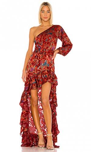 Вечернее платье со ступенчатым подолом marseill Alexis. Цвет: красный