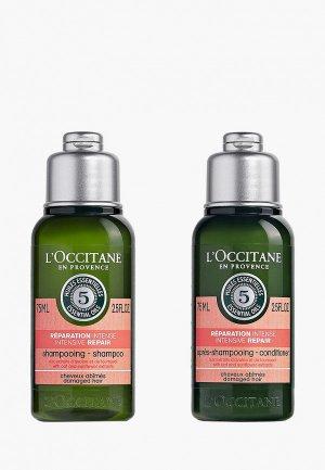 Набор для ухода за волосами LOccitane L'Occitane Восстанавливающий мини 2*75 мл. Цвет: прозрачный