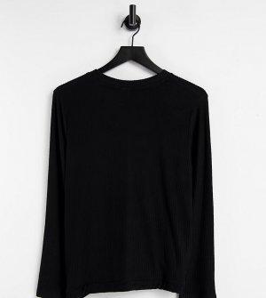 Черный домашний свитшот из очень мягкого материала в рубчик, с кулиской ASOS DESIGN Maternity Выбирай и Комбинируй-Черный цвет