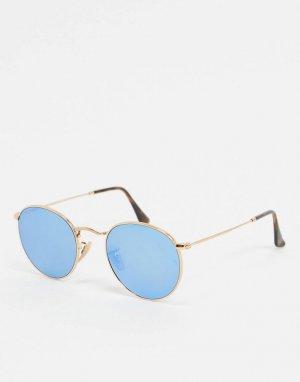 Золотистые круглые солнцезащитные очки с синими стеклами Ray-ban ORB3447N-Золотой