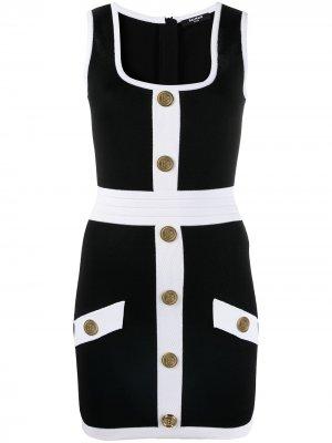 Приталенное платье с декоративными пуговицами Balmain. Цвет: черный