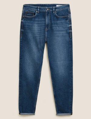 Джинсы из денима-стрейч зауженного кроя M&S Collection. Цвет: умеренный голубой