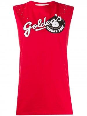 Топ без рукавов с логотипом Golden Goose. Цвет: красный
