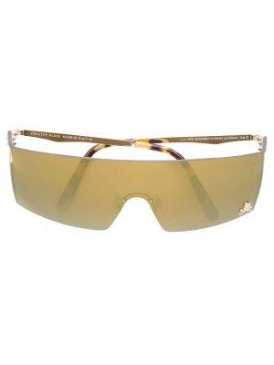 Солнцезащитные очки в стилистике маски без оправы Philipp Plein. Цвет: золотистый