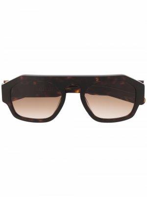 Солнцезащитные очки в оправе черепаховой расцветки FLATLIST. Цвет: черный