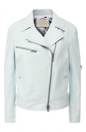 Кожаная куртка DROMe. Цвет: голубой