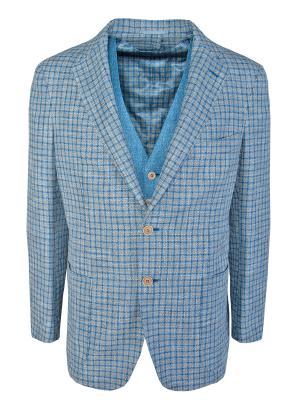 Хлопковый пиджак ANDREA CAMPAGNA. Цвет: голубой