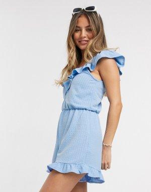 Голубой пляжный ромпер с оборками -Синий Miss Selfridge