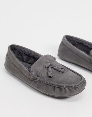 Серые слиперы-мокасины с подкладкой из искусственного меха -Серый ASOS DESIGN