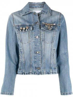 Джинсовая куртка с кристаллами Ermanno Scervino. Цвет: синий