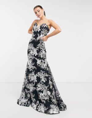 Платье макси без бретелек с юбкой-годе и цветочным принтом черного белого цветов -Черный Jovani