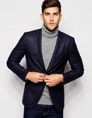 Пиджак слим из твида Sisley. Цвет: темно-синий