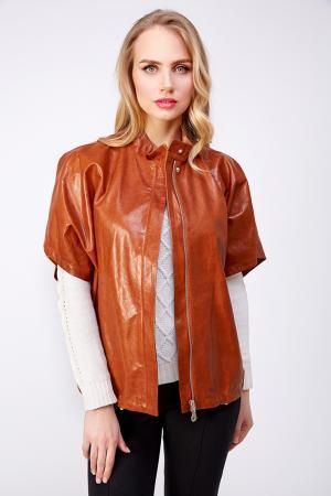 Кожаная женская итальянская куртка с коротким рукавом AFG. Цвет: коричневый