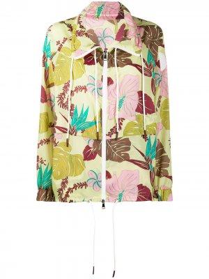 Ветровка с цветочным принтом Moncler. Цвет: зеленый