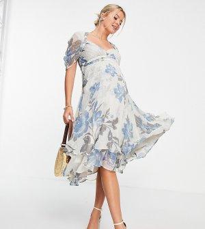 Платье миди с цветочным принтом, чашечками со сборками и драпированными рукавами ASOS DESIGN Maternity-Разноцветный Maternity