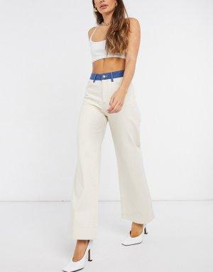 Кремовые контрастные джинсы с завышенной талией Sika-Белый Just Female