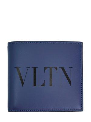 Складное портмоне VLTN из гладкой кожи VALENTINO GARAVANI. Цвет: синий