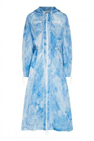 Голубой плащ-ветровка Off-white. Цвет: голубой