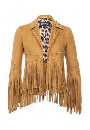 Куртка кожаная Just Cavalli. Цвет: горчичный