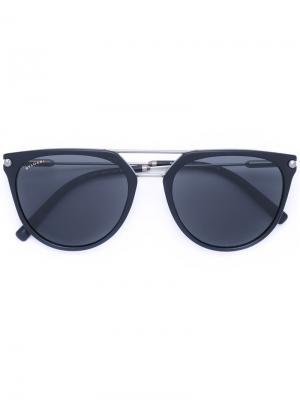 Округлые солнцезащитные очки Bulgari. Цвет: чёрный