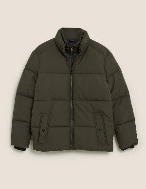 Дутая куртка-пуховик с Stormwear ™ M&S Collection. Цвет: хаки микс
