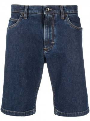 Джинсовые шорты с нашивкой-логотипом Dolce & Gabbana. Цвет: синий