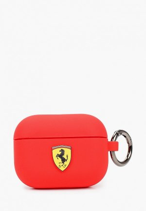 Чехол для наушников Ferrari Airpods Pro, Silicone case with ring Red. Цвет: красный