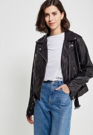 Куртка кожаная Diesel DI303EWADBU7. Цвет: черный