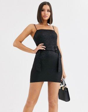 Черное жаккардовое платье-комбинация с поясом и цветочным рисунком -Черный Saint Genies