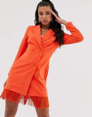 Оранжевое платье-блейзер с отделкой бахромой -Оранжевый Saint Genies